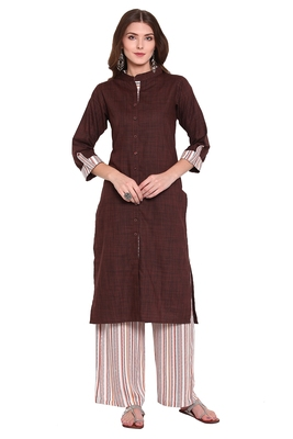 Brown printed viscose salwar