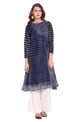Blue printed faux polyester salwar
