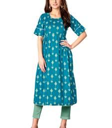 Kimisha Turquoise Blue Cotton Printed Anarkali Kurti