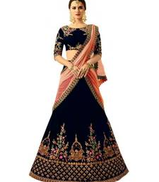Neavy Blue Embroidered Satin With Blouse Stylish Lahengha Choli