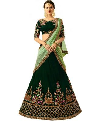 green embroidered satin with blouse stylish lahengha choli