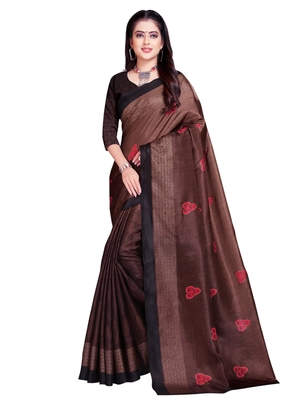 Brown printed shimmer saree with blouse