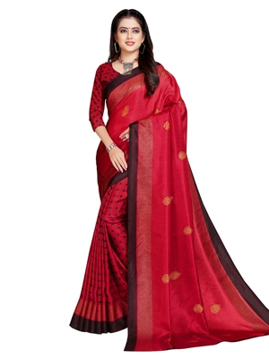 Red printed shimmer saree with blouse