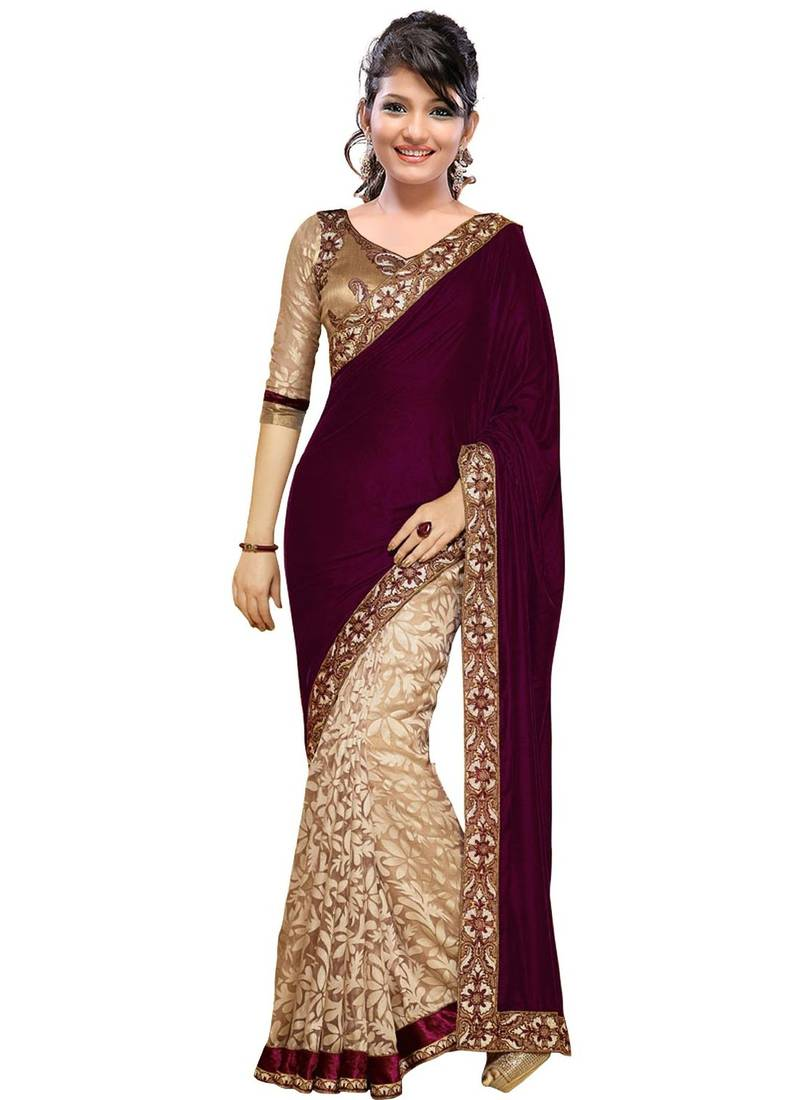d663f3adc11c29 Magenta and Cream embroidered velvet saree with blouse - Shree ...