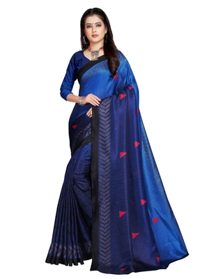 Navy blue printed shimmer saree with blouse