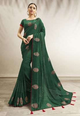 Green printed chanderi silk saree with blouse