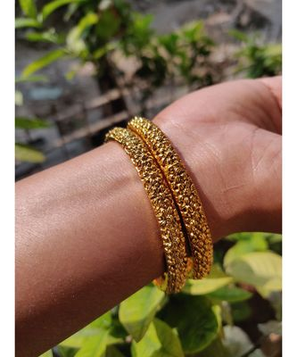 Elegant Floral Design 2Pc Gold Plated Traditional Bangles Set for Women and Girls