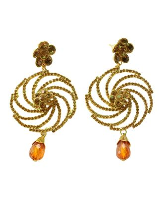 Riche Antique Gold Stone Studded  Earrings  For Women