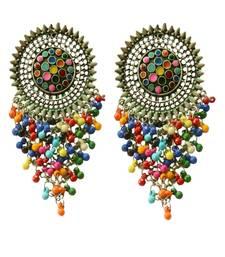 Oxidised  Silver Multicoloured Beaded Boho Dangler Earrings For Women