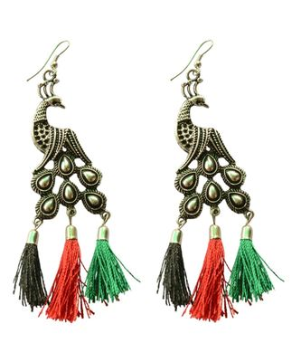 Colour Delight Peacock  Tassle Dangler Earrings For Women