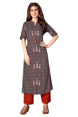 Kimisha Grey Rayon Cotton Printed A LINE Kurta