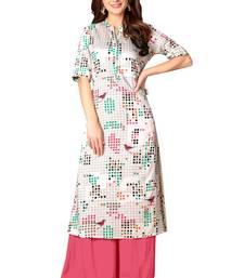 Kimisha Off White Rayon Cotton Printed A-Line Kurti With Pocket