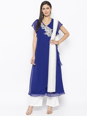 Blue Embroidered Georgette Salwar