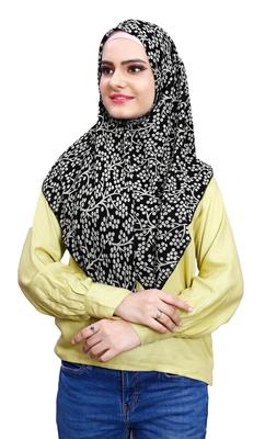 Black White Soft Chiffon Printed 100 * 100 Square Scarf Hijab Dupatta For Women