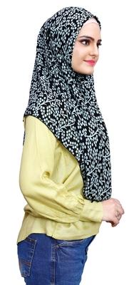 Black Pista Soft Chiffon Printed Square Scarf Hijab Dupatta For Women