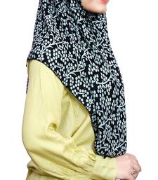 Black Pista Soft Chiffon Printed Square Scarf Hijab Dupatta For Women