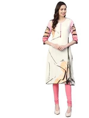 White printed liva kurtas-and-kurtis