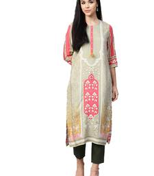 Sea-green printed liva kurtas-and-kurtis