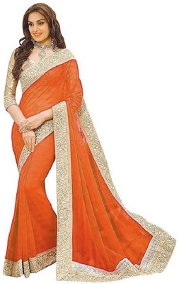 Orange Jacquard Lace  Vichitra Silk Bollywood Saree With Blouse Piece.