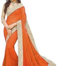 Orange Jacquard Lace  Vichitra Silk Bollywood Saree With Blouse Piece.