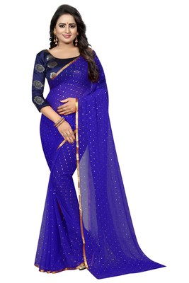 Blue printed nazneen saree with blouse