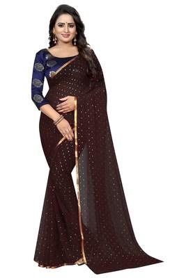 Brown printed nazneen saree with blouse