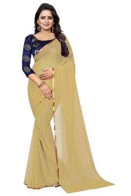 Cream printed nazneen saree with blouse