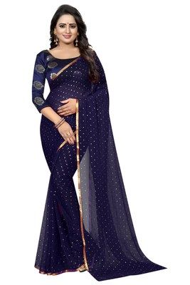 Navy blue printed nazneen saree with blouse