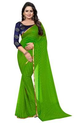 Parrot green printed nazneen saree with blouse