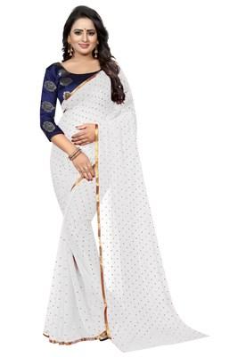 White printed nazneen saree with blouse