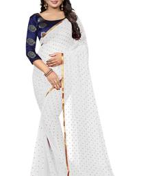 White printed nazneen saree with blouse