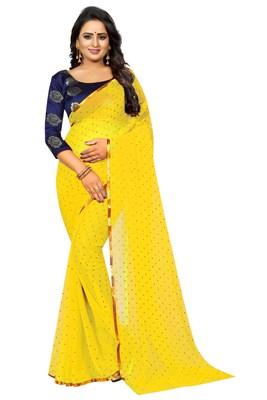 Yellow printed nazneen saree with blouse