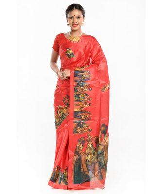 Dark red banarasi khadi silk magic saree