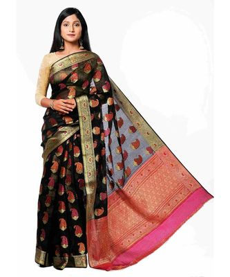 Black Maheshwari Cotton silk love saree