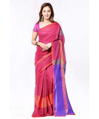 Pink cotton silk formal wear saree
