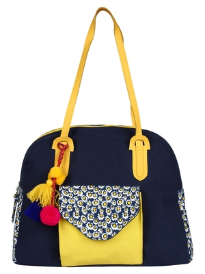 Anekaant Floral Canvas Shoulder Bag Navy & Yellow