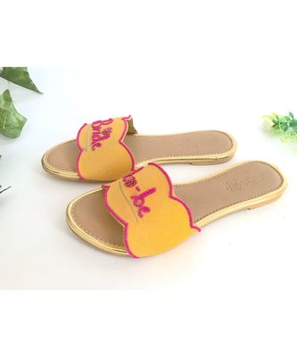 yellow leather Bride To Be  flats footwear