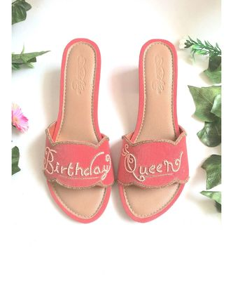 pink leather Birthday Queen  flats footwear