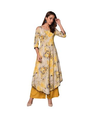 Libas Yellow printed Satin kurti