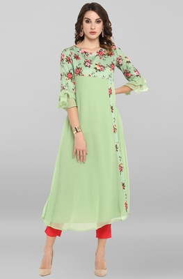 Light-green printed crepe ethnic-kurtis