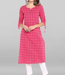 Pink printed cotton ethnic-kurtis