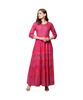 Libas Pink printed Cotton kurti