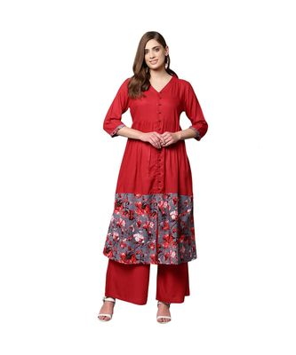 Libas Red printed viscose kurti