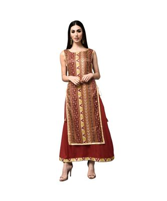 Libas Brown printed viscose kurti
