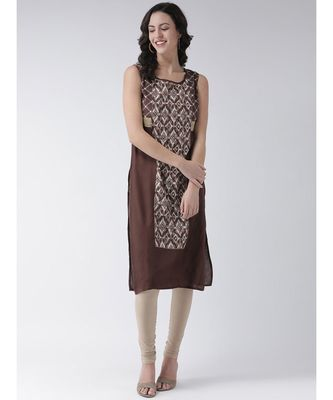 Women's Brown Cotton Below Knee Kurta