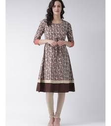 Women's Brown Cotton Below Knee Kurta