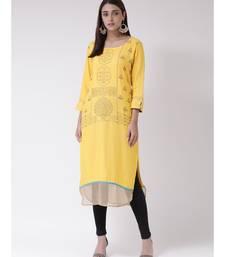 Women's Yellow Crepe Calf Length Kurta