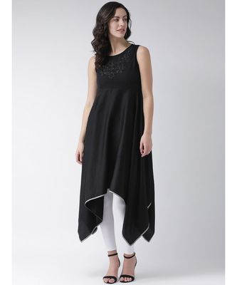 Women's Black Cotton Knee Length Kurta