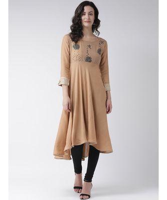 Women's Brown Cotton Knee Length Kurta