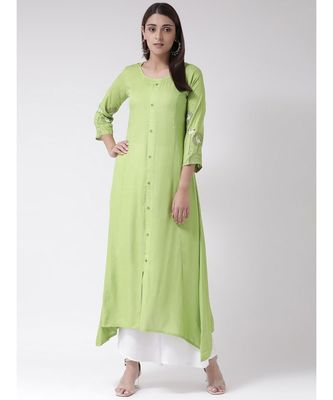 Women's Green Rayon Calf Length Kurta